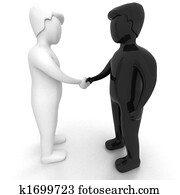 HANDSHAKE - 3D black and white people