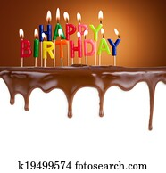 Happy birthday lit candles on chocolate cake template