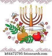 Jewish rosh hashanah concept background, cartoon style