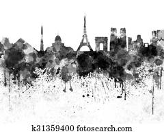 Paris skyline in black watercolor