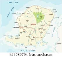Clip Art of Vector road map of Indonesian Lesser Sunda Islands Bali ...