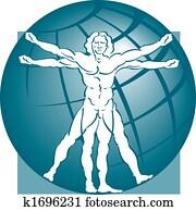 vitruvian man with a globe