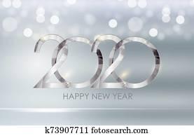 2020 Happy New Year Background. Illustration