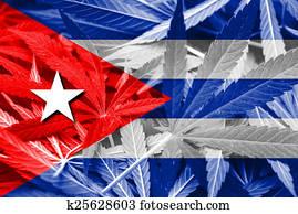 Cuba Flag on cannabis background. Drug policy. Legalization of marijuana