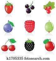 Icon set Berries