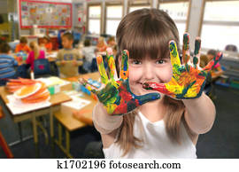 School Age Child Painting With Her Hands in Class