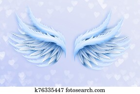 3d illustration, light background with hearts, large blue angel wings