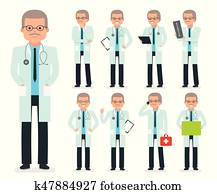 Doctor character creation set. The pediatrician, physician, medic.