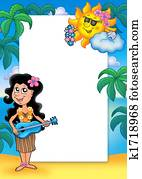 Frame with Hawaiian girl