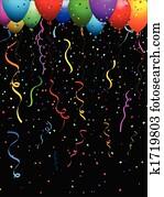 konfetti, und, luftballone