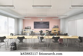 Modern classroom with concrete floor. High school. 3d illustration