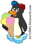 Penguin with ice cream