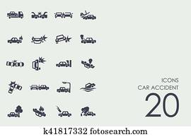 Set of car accident icons