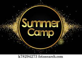 Summer Camp in golden stars and black background