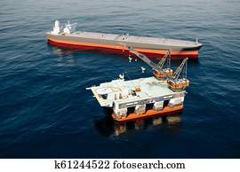 3d oil rig, fuel production and perfect blue sea