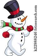 Snowman walking