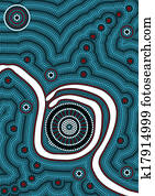A illustration based on aboriginal style of dot painting depicting - in the middle of nowhere