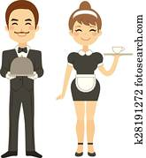 Butler And Maid Serving