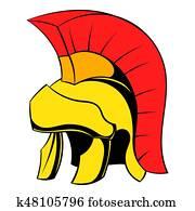 Roman legionary helmet icon cartoon