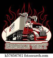 Vector cartoon semi truck template
