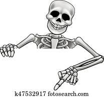 Cartoon Skeleton Pointing Sign