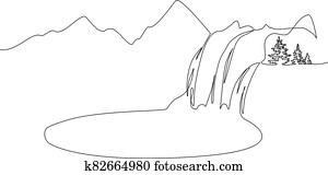Landscape with mountains, waterfall and lake. One line