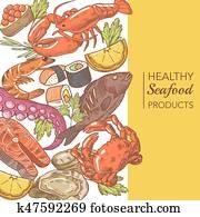 hand, gezeichnet, meeresfrüchte, design, mit, oktopus, lachs, und, austern, restaurant menü, vektor, abbildung