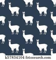 Llama in glasses seamless pattern