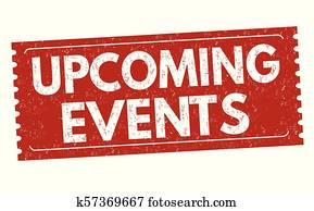 Upcoming events grunge rubber stamp