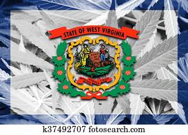 Flag of West Virginia State, on cannabis background