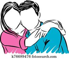 happy couple hugging vector illustration