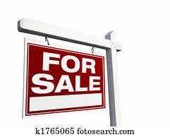 Red For Sale Real Estate Sign on White