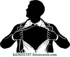 Superhero Business Man Tearing Shirt Showing Chest