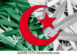 Algeria Flag on cannabis background. Drug policy. Legalization of marijuana