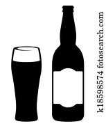 black beer bottle with glass