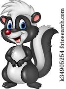 Cartoon funny skunk isolated
