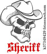 a3ac433be4566 Cowboy skull wearing a stylish fedora hat Clipart