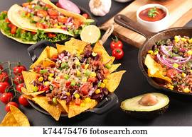 nachos with beef, vegetable and cheese- mexican food