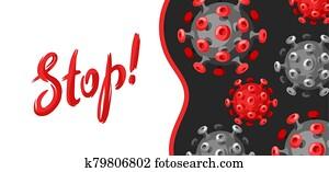 Stop Covid-19. Background with coronavirus molecule.