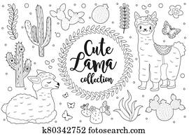 Cute little llama set Coloring book page for kids. Collection of design element sketch outline style. Kids baby clip art funny smiling kit. illustration