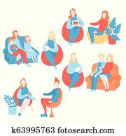 Flat psychologist set, psychological therapy and counseling with therapist. Psychotherapy session. Teenage, couple, individual and group psychology. Psychiatrist consultation