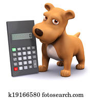 3d Calculating puppy