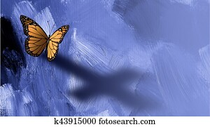 Graphic butterfly with shadow of cross of Jesus