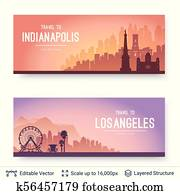 Indianapolis and Los Angeles famous city scapes.