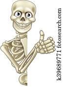 karikatur, halloween, skelett, daumen hoch