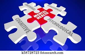 Mental Health Psychological Behavioral Cognitive Emotional Puzzle 3d Illustration