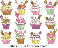 Vector Set of Various Cupcakes