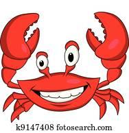 lustig, krabbe, karikatur