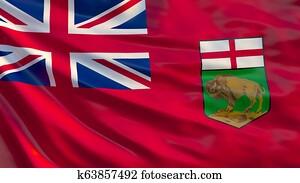 Manitoba flag. Waving flag of Manitoba province, Canada