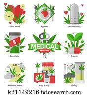 Medical marijuana flat icons set